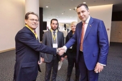 """At the International Forum """"Transport Security"""" with a member of political party """"United Russia"""" (""""Edinaya Rossia"""")"""