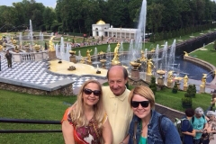 During the Peterhof tour with an English-speaking couple