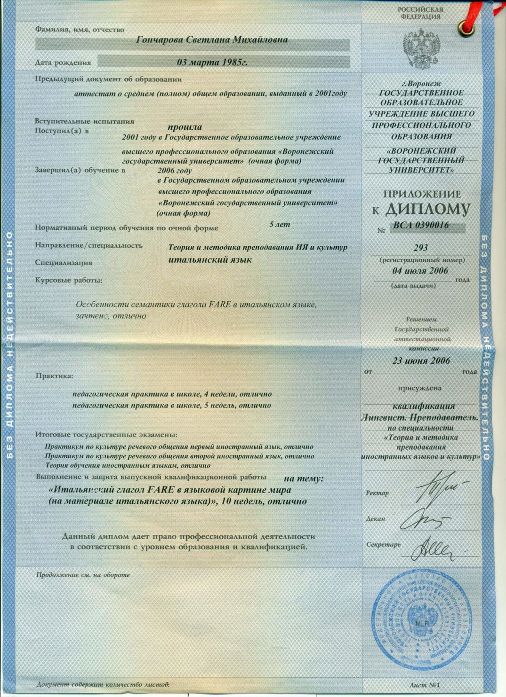 Приложение к диплому ВГУ Гончаровой Светланы Михайловны