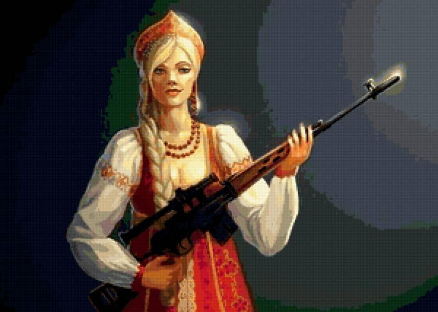 Kaláshnikov fusil de combate mujer rusa