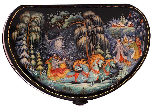souvenir russo in lacca pittura tipica tradizionale