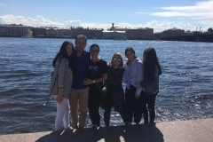 On the bank of Neva river with a Mexican family