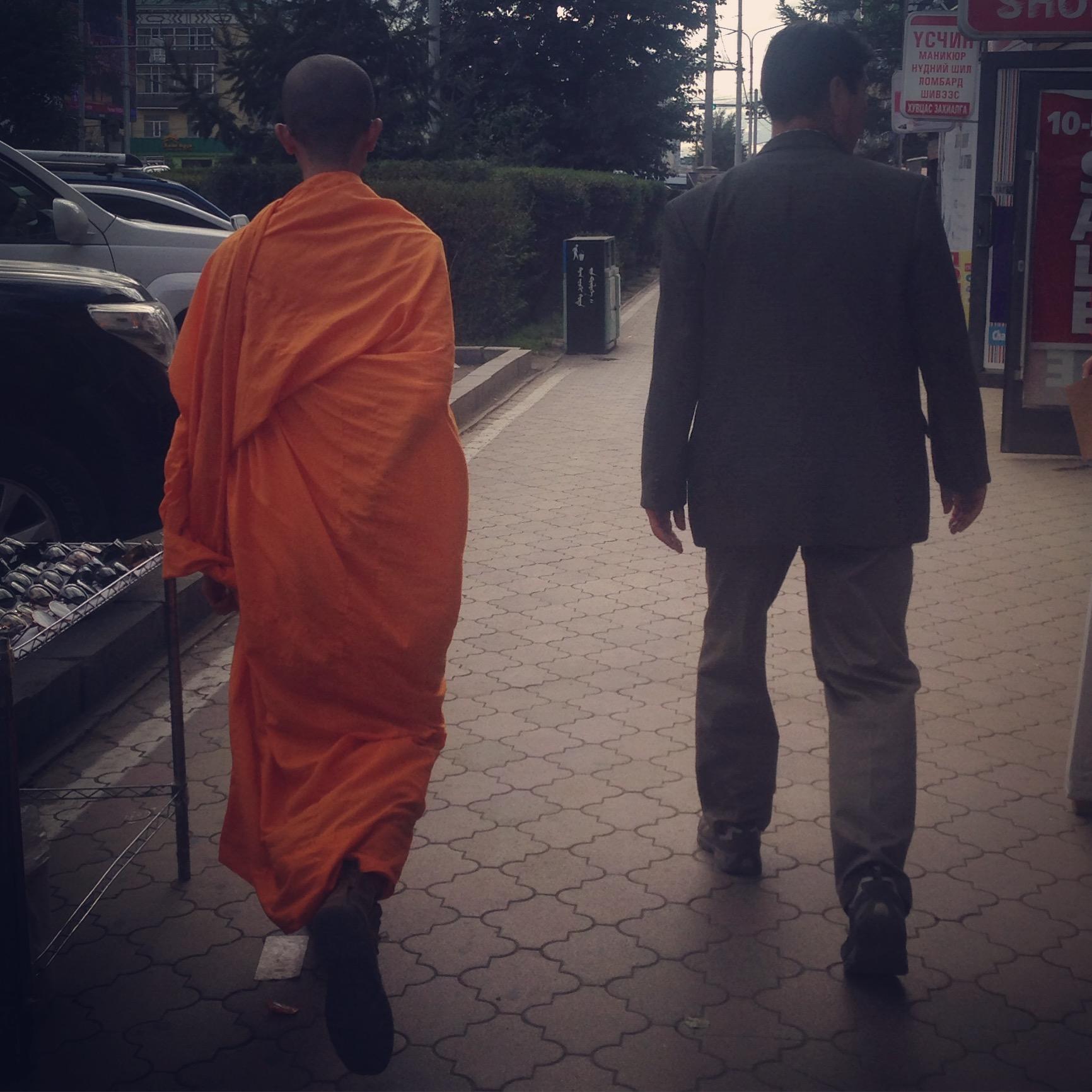 Il monaco buddista a Ulan-Bator. Mongolia.