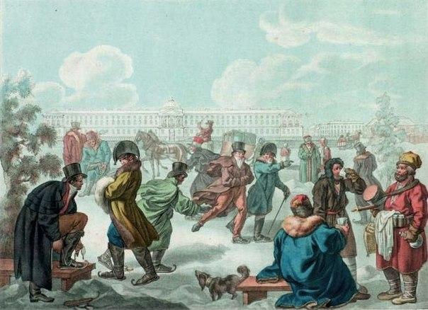 Neva rio en tiempos de los zares rusos antiguos invierno patinar nieve hielo