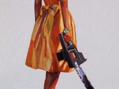 девушка в платье с разводным пилой мем рисунок