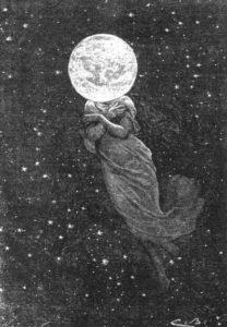 мем луна старая открытка девушка